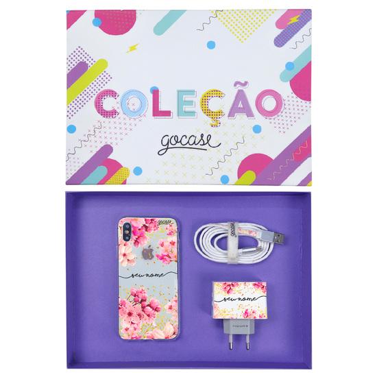 Kit Rose Gold (Case iPhone + Cabo iPhone Lightning + Carregador Duplo + Caixa Minha Coleção)
