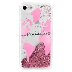 Glitter Flow - Pink World Map Phone Case