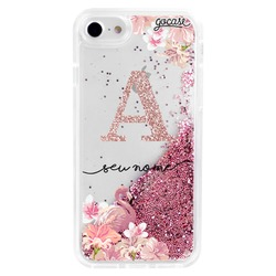 Glitter Flow - Flamingo Initials Glitter Phone Case