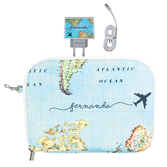 Kit Mapa Mundi (Cabo Micro USB + Carregador Duplo + Porta Acessórios)