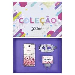 Kit Corações Flutuantes (Case + Cabo Micro USB  + Carregador Duplo + Caixa Minha Coleção)