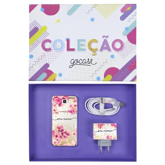 Kit Rose Gold (Case + Cabo Micro USB  + Carregador Duplo + Caixa Minha Coleção)