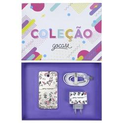 Kit Bem Floral (Case + Cabo Micro USB  + Carregador Duplo + Caixa Minha Coleção)