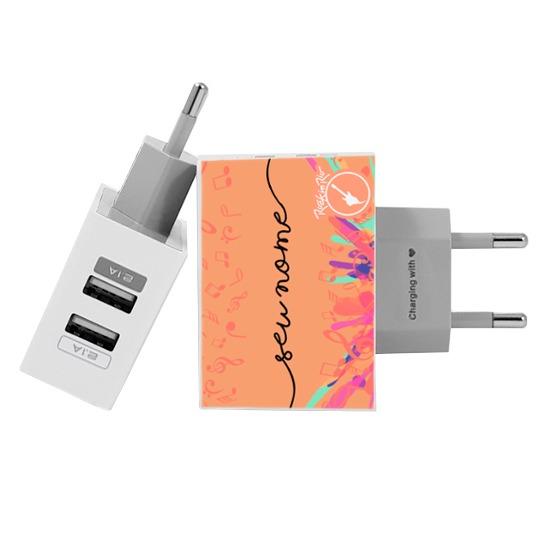 Carregador Personalizado iPhone/Android Duplo USB de Parede Gocase - Rock in Rio - Sente a Vibração