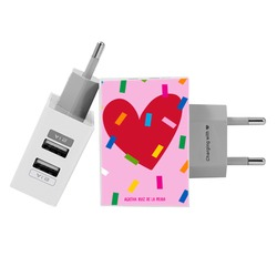 Customized Dual Usb Wall Charger for iPhone and Android - Funny Heart Pink