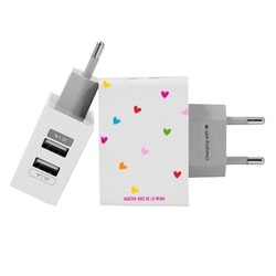 Customized Dual Usb Wall Charger for iPhone and Android - Heart Necklace