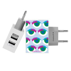 Customized Dual Usb Wall Charger for iPhone and Android - Blue Eyes Pattern