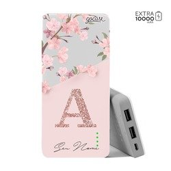 Carregador Portátil Power Bank (10000mAh) - Classical Rosé Inicial Glitter