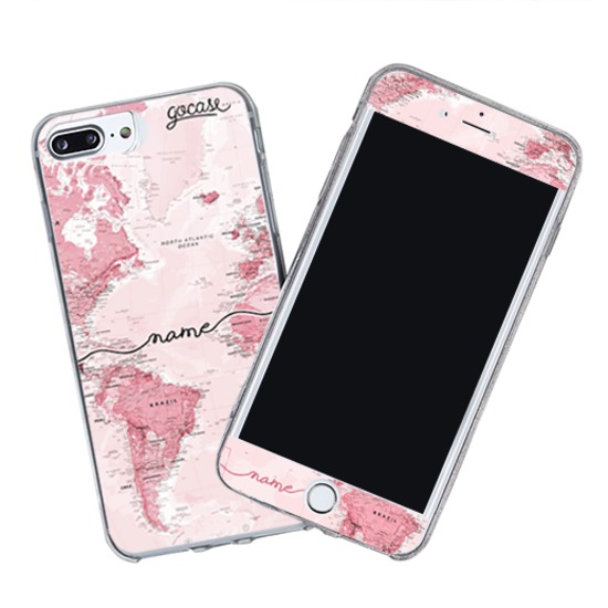 Kit Pink World Map Handwritten (Skin Custom White + Case)