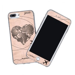 Kit World Map Heart Vintage (Skin Custom White + Case)