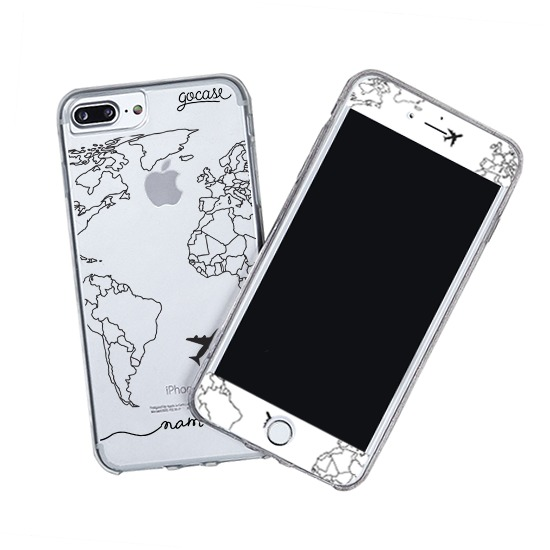 Kit World Map Lines Handwritten (Skin Custom White + Case)