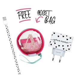 Kit Black Hearts (Lightning Cable to USB for iPhone + Wall Charger + Pocket Bag)