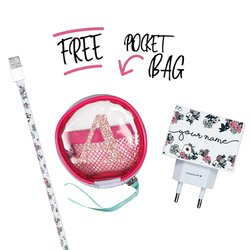 Kit Lovely Floral (Lightning Cable to USB for iPhone + Wall Charger + Pocket Bag)