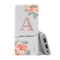 Carregador Portátil Power Bank (10000mAh) - Floral Glitter