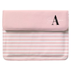 Case Clutch Notebook - Pink Listras - Iniciais Fancy