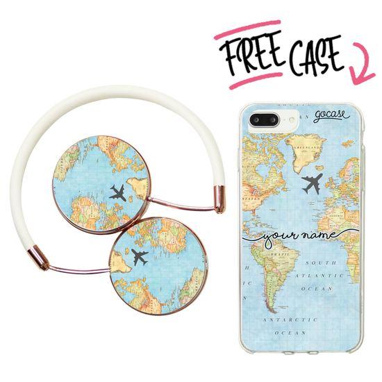 Kit World Map Handwritten (headphones + case)