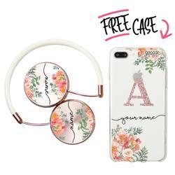 Kit Pink Flowers Handwritten (headphones + case)