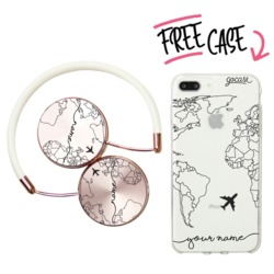 Kit World Map Lines Handwritten (headphones + case)