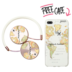 Kit World Map Blank Handwritten (headphones + case)