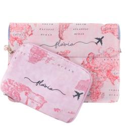 Kit Capa para Notebook 15'' + Porta Acessórios - Mapa Mundi Rosa Manuscrita