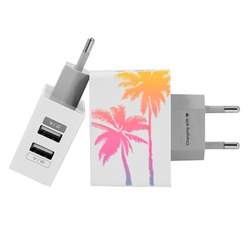 Customized Dual Usb Wall Charger for iPhone and Android - Palm Trees - Summer Collection