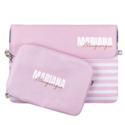 Kit Clutch 13'' + Porta Acessórios - Pink Listras - Stylish