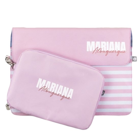 Kit Capa para Notebook 15'' + Porta Acessórios - Pink Listras - Stylish