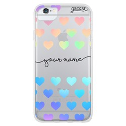 Holographic hearts handwritten Phone Case