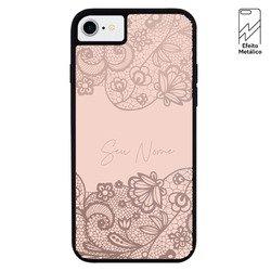 Capinha para celular Metallic - Renda Rosa Personalizada