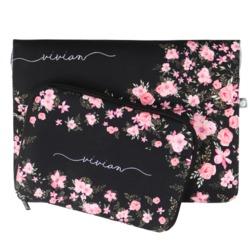 Kit Capa para Notebook 13'' + Porta Acessórios - Flores Royale Manuscrita