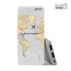 Power Bank Slim Portable Charger (5000mAh) - World Map Blank Handwritten