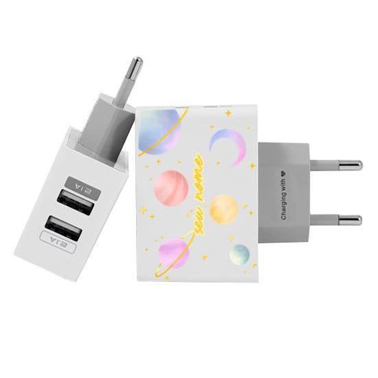 Carregador Personalizado iPhone/Android Duplo USB de Parede Gocase - Viagem Pelo Espaço by Niina Secrets