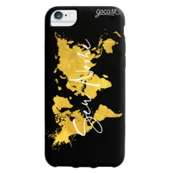 Capinha para celular Color Black - Mapa Mundi Gold Clean