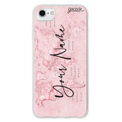 Pink World Map Vertical Phone Case