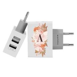 Carregador Personalizado iPhone/Android Duplo USB de Parede Gocase - Arranjo Rosé Inicial