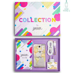 Kit World Map Blank Travel Handwritten (Samsung Case + wall charger + cable Type C + collection box)