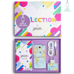Kit World Map Travel Handwritten (Samsung Case + wall charger + cable Type C + collection box)