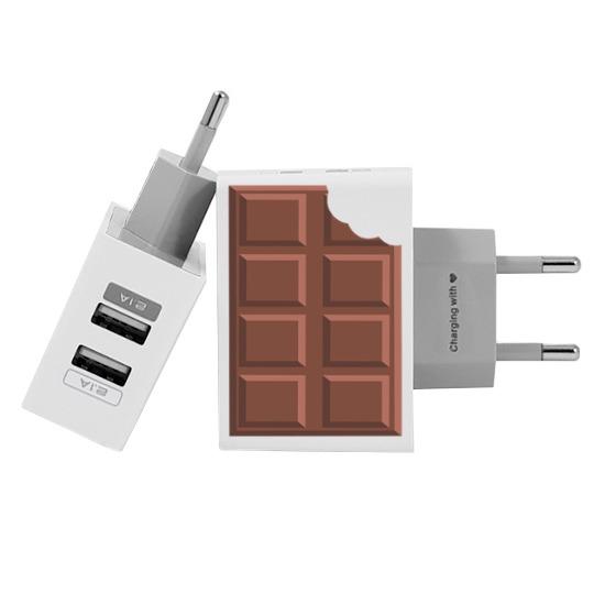 Carregador Personalizado iPhone/Android Duplo USB de Parede Gocase - Chocolate