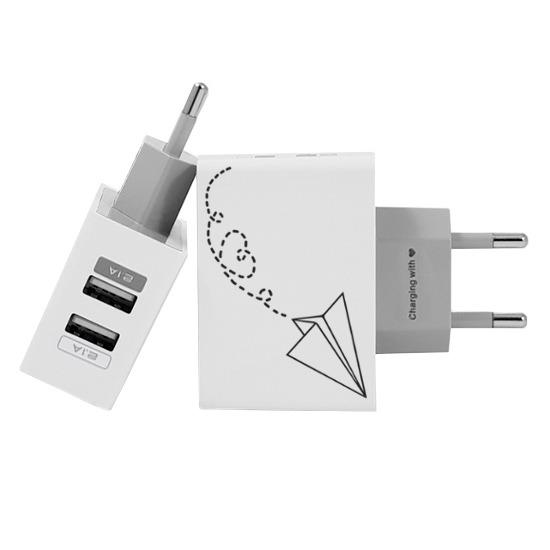 Carregador Personalizado iPhone/Android Duplo USB de Parede Gocase - Avião de Papel