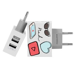 Carregador Personalizado iPhone/Android Duplo USB de Parede Gocase - Compartilhe Amor by Nah Cardoso