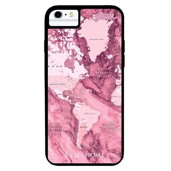 Capinha para celular Prime - Mapa Mundi Rosa Mármore