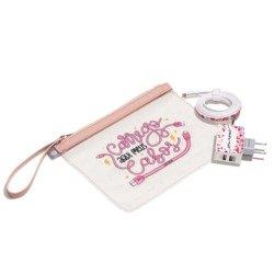 Kit Necessaire Transparente - Corações Flutuantes - Cabo Micro USB