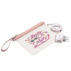 Kit Necessaire Transparente - Classical Rosé - Cabo Micro USB