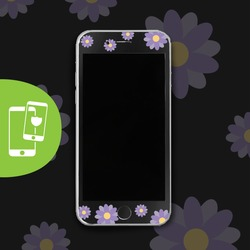 Face Flower Black Screen Protector - Tempered Glass