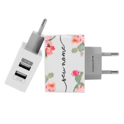 Carregador Personalizado iPhone/Android Duplo USB de Parede Gocase - Carregador Personalizado iPhone/Android Duplo USB de Parede Gocase - Cactos by Nah Cardoso