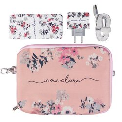 Kit Bem Floral (Cabo Micro USB + Carregador Duplo + Carregador Portátil 10000mAh + Porta Acessórios)