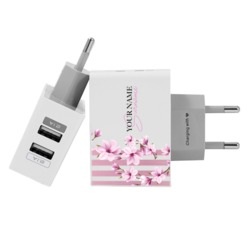 Customized Dual Usb Wall Charger for iPhone and Android - Carregador Personalizado iPhone/Android Duplo USB de Parede Gocase - Floral Lines