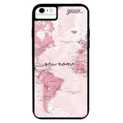 Capinha para celular Prime - Mapa Mundi Rosa