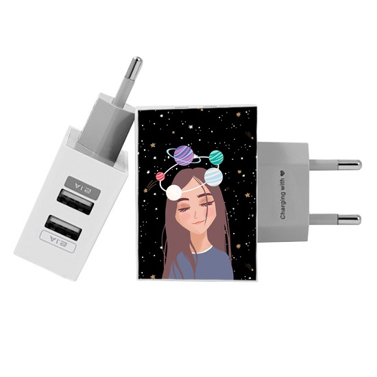 Carregador Personalizado iPhone/Android Duplo USB de Parede Gocase - Planeta Borboleta By Mari Nolasco