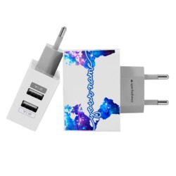 Customized Dual Usb Wall Charger for iPhone and Android - World Universe Map Clean Handwritten
